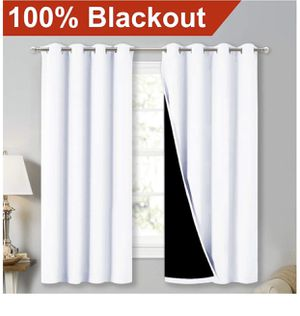 NICETOWN White 100% Blackout Lined Curtains, 2 Thick Layers Completely Blackout Window for Sale in Los Angeles, CA