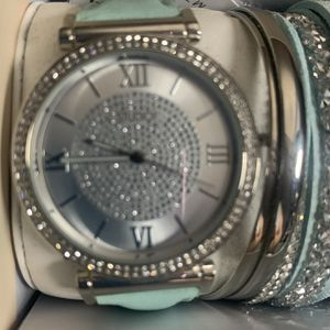 Watch And Bracelets Tiffany Blue With Silver for Sale in Riverside, CA