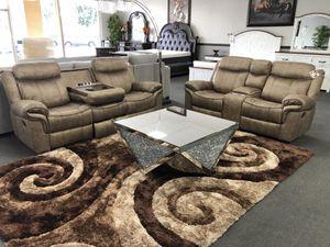 Brown Rock & Recline Sofa + Loveseat W/ USB for Sale in Fresno, CA