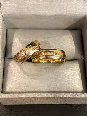 18K Gold plated Matching Ring Set- 3 Diamond for Sale in Houston, TX