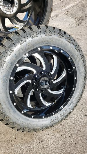 20x10 xm offroad rims 6 lug 6x139 6x135 whit New MUD tires 33 1250 20 lt for Sale in Phoenix, AZ