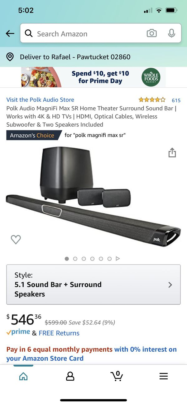 Polk Audio MagniFi Max SR Home Theater Surround Sound Bar | Works with 4K & HD TVs | HDMI, Optical Cables, Wireless Subwoofer & Two Speakers Included