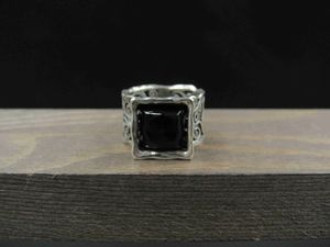 Size 7.5 Sterling Silver Ornate Design Black Stone Band Ring Vintage Statement Engagement Wedding Promise Anniversary Cocktail Cute Cool for Sale in Everett, WA