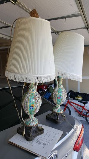 2 antique lamps green and white for Sale in Tucson, AZ