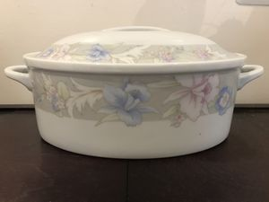 Oval pink and blue casserole serving tableware dish with lid for Sale in Jackson, NJ