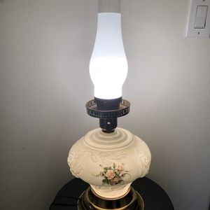 Vintage Phoenix 3 Way Puffy Rose Milk Glass Hurricane Lamp. Base and Chimney. 23 tall with Chimney. for Sale in Port St. Lucie, FL