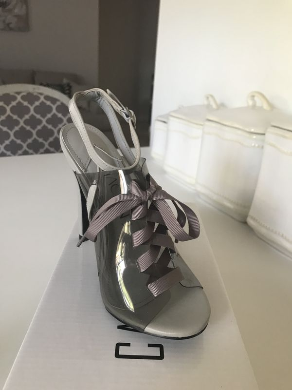 New Gray Lucite Sandals Heels new in box