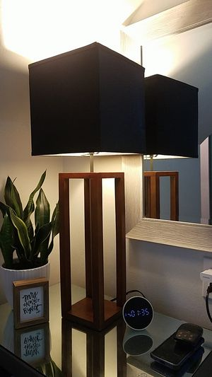 2 lamps mid Century modern Black shades for Sale in Buffalo, NY