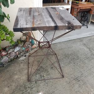 Reclaimed wood pub table. Outdoor patio furniture farmhouse rustic distressed coastal industrial WEATHERED for Sale in La Mesa, CA