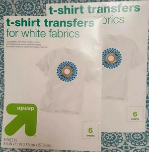 Up & Up T-Shirt Transfers For White Fabrics, use on-Inkjet Printers 12 sheets for Sale in Orlando, FL