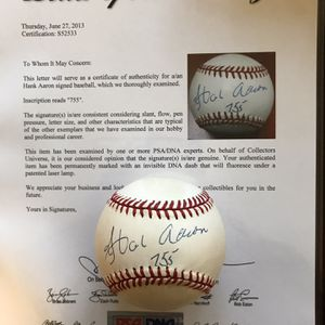 Hank Aaron Signed Vintage Baseball PSA Certified for Sale in Puyallup, WA