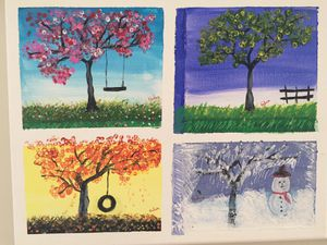 Trees in Acrylic 4 Seasons for Sale in East Providence, RI