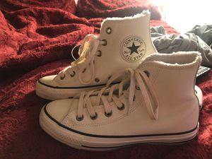 Converse leather high tops with fur inside for Sale in Bensalem, PA