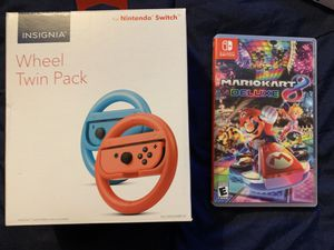 Mario Kart 8 Deluxe and Twin Wheel Pack for Nintendo Switch for Sale in Yardley, PA