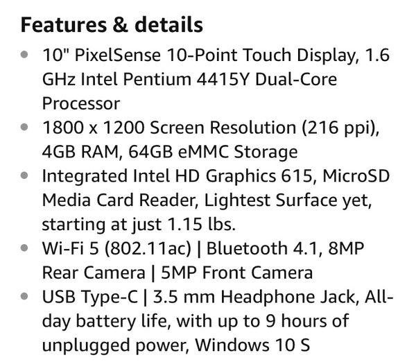 Microsoft Surface Go(plus accessories)(Intel Pentium Gold 4GB RAM 64 GB)