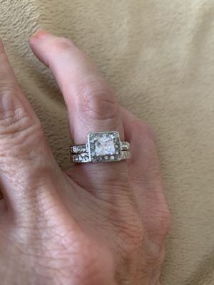 New 2 piece CZ 2 kt silver wedding ring size 6 for Sale in Hoffman Estates, IL