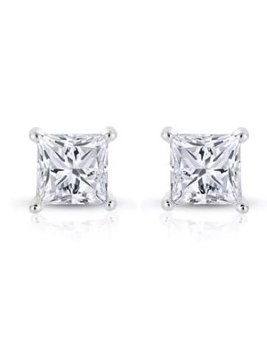 1 CT Diamond Studs Earrings 14K White Gold Princess Cut Brilliant for Sale in Los Angeles, CA