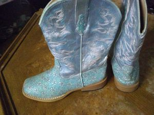 Girls Turquoise Sparkle Roper Cowboy Boots sz 2 for Sale in Plant City, FL