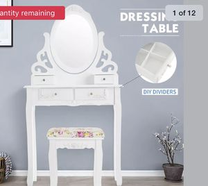4 Drawer Vanity Makeup Dressing Table Set w/Mirror,Stool Jewelry Wood Desk White for Sale in Bay Point, CA