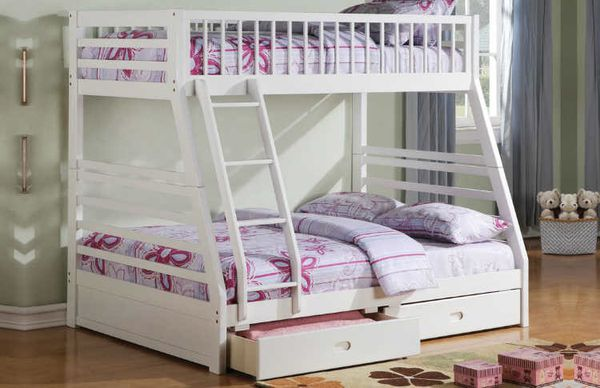 Twin /full w storage bunk bed white solid wood