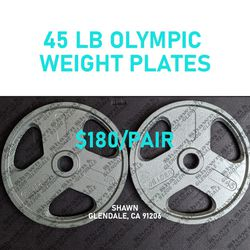 WEIDER OLYMPIC WEIGHT PLATES - 45LBS (PAIR) for Sale in Glendale,  CA