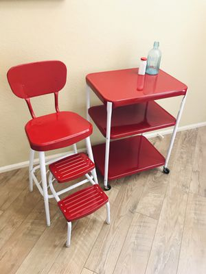 Vintage Cosco Step Stool / Cosco Bar Cart / Antique Step stool chair & Bar Cart / Sold together or separate for Sale in Tempe, AZ