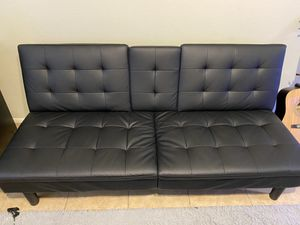 Mainstays Black Futon Faux Leather with Memory Foam for Sale in Tempe, AZ
