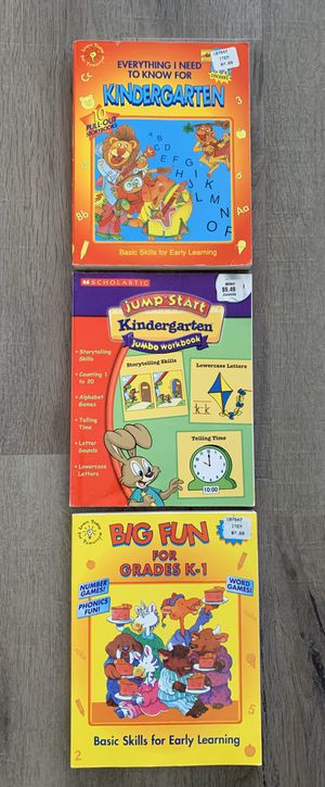 3 jumbo sized workbooks for kindergarten through first grade. Great for a basic skills early learning, storytelling, counting, alphabet games, tellin for Sale in Rancho Santa Margarita, CA