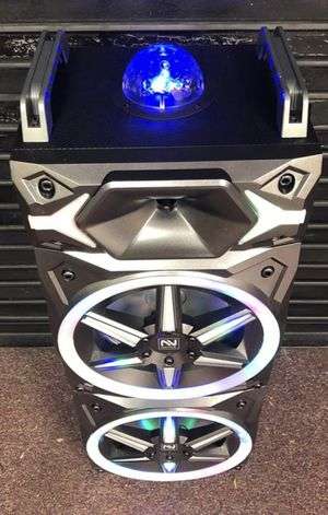 New Bluetooth karaoke speaker with aux radio mp3 with lights music and free microphones one year warranty for Sale in Sugar Land, TX