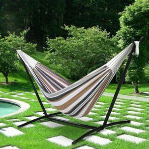 New in box $60 each 110 inches long 450 lbs capacity double hammock with metal stand included and carrying bag for Sale in Los Angeles, CA