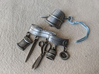 Vintage JJ Pewter Sewing Thimble Needle Brooch Pin, Sewing Charms Brooch Pin for Sale in Alpharetta,  GA