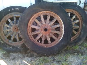 Old wooden truck wheels for Sale in Backus, MN