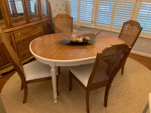 Dining table with cane back chairs for Sale in Franklin, TN