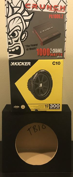 "New 10"" inch KICKER Comp Subwoofer + 1000 Watts CRUNCH Bass Amplifier Package w/ 10"" Angled Truck Box 🔊🔥💰 for Sale in Hemet, CA"