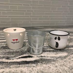 3 Mini Decor Buckets Or Mini Flower Pots for Sale in Gilbert, AZ