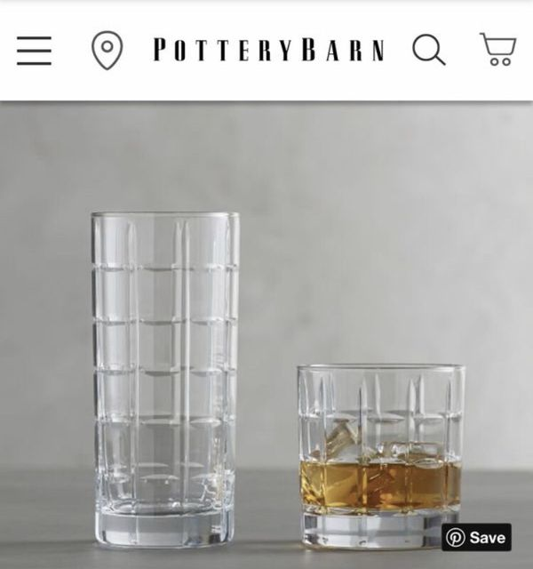 Pottery Barn. Library Cocktail Glasses, Set of 12