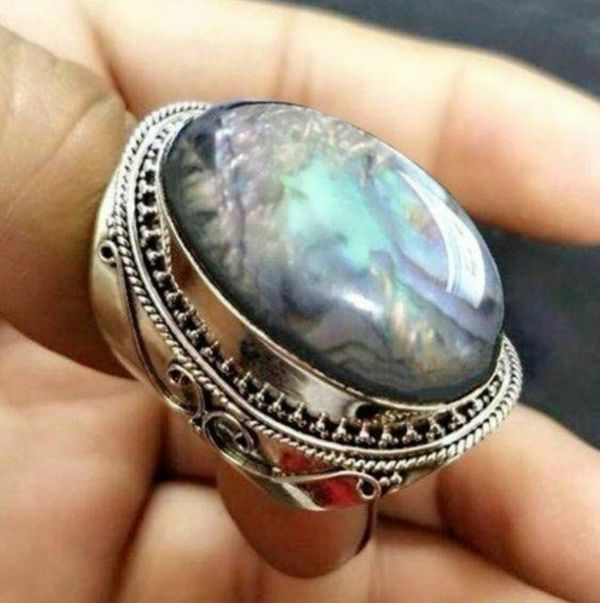 Vintage 925 Sterling Silver Natural Rainbow Moonstone Ring