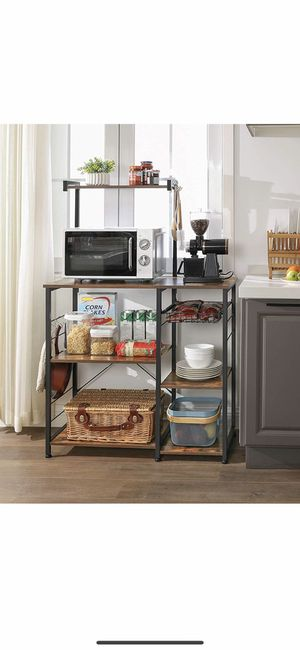 ALINRU Baker's Rack with Shelves, Kitchen Shelf with Wire Basket, 6 S-Hooks, Microwave Oven Stand, Utility Storage for Spices, Pots, and Pans, Rustic for Sale in Corona, CA