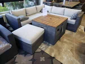 Brand New Patio Furniture Sectional with Ottoman and firepit tax included and free delivery for Sale in Hayward, CA