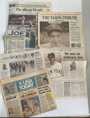 1999 Newspaper Collection Joe DiMaggio Death Yankees Nice Condition! for Sale in Ocoee, FL