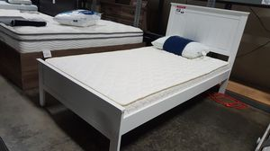 FULL SIZE Wood Platform Bed with Headboard / No Box Spring Needed / Wood Slat Support, White SKU# 7582F-WH for Sale in Santa Ana, CA