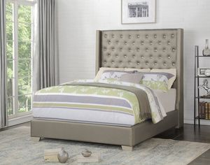 New grey leather queen bed frame only for Sale in Lake Charles, LA