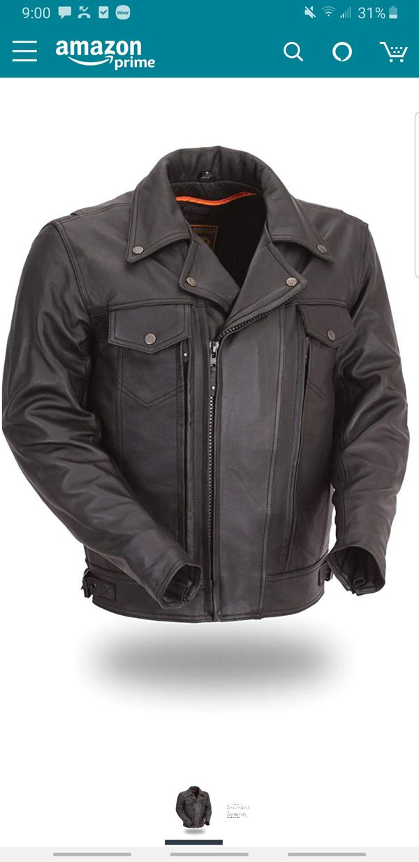 Brand New First Mnfg Classic Utility leather motorcycle jacket and vest men's XL