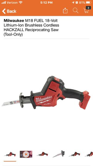 Milwaukee M18 FUEL 18-Volt Lithium-Ion Brushless Cordless HACKZALL Reciprocating Saw (Tool-Only) for Sale in Highland, CA