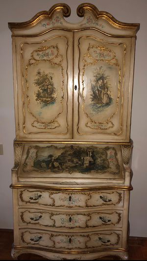 Antique off-white Hand painted French Armoire for Sale in Fullerton, CA