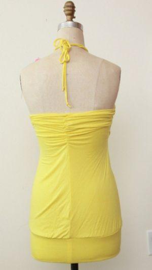Bebe 2b yellow jeweled halter mini dress / tunic for Sale in Alexandria, VA