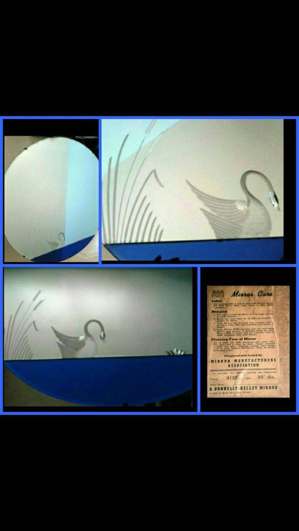 Vintage 1944 Donnelly Kelly Art Deco Swan Mirror