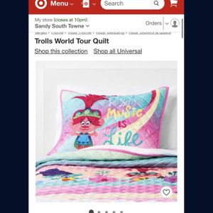Trolls World Tour Quilt & Sham Full/Queen And Twin for Sale in Garden Grove, CA