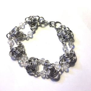 Silver Chainmaille Knots Bracelet with Crystals for Sale in Wolcott, CT