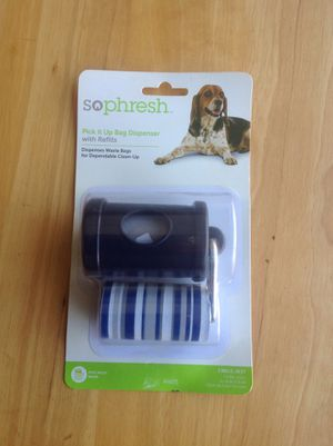 New dog pick it up bag dispenser with refill for Sale in Corona, CA